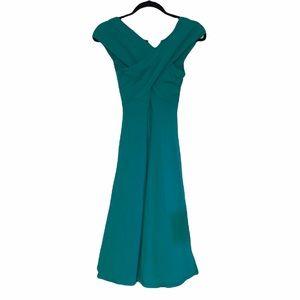 ASOS emerald green mid length sleeveless dress size 4 super cute halter wrap top